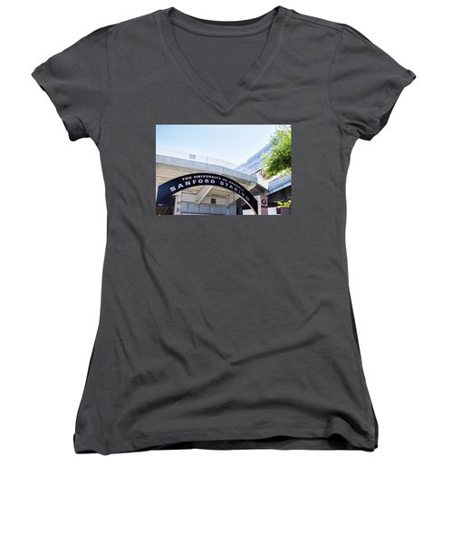 Women's V-Neck T-Shirt (Junior Cut) featuring the photograph Athen's Ritual by Parker Cunningham
