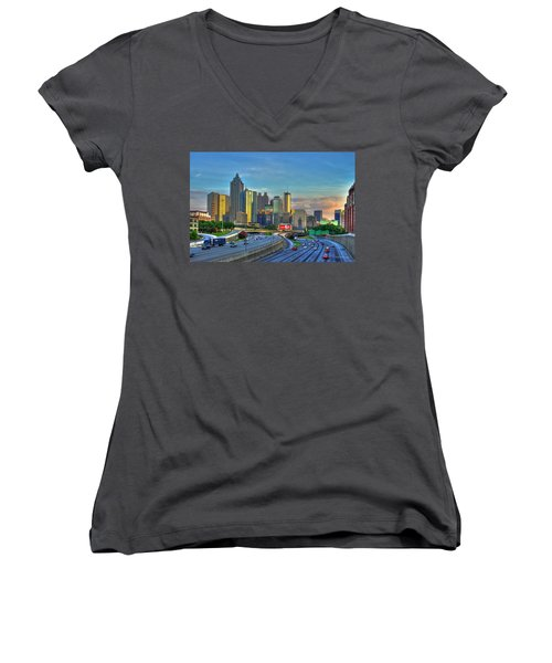 Atlanta Coca-cola Sunset Reflections Art Women's V-Neck