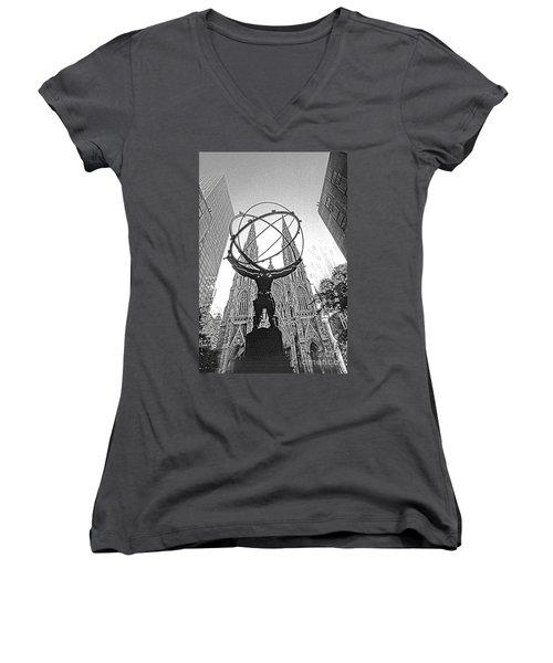 Atlas Rockefeller Center Nyc Women's V-Neck T-Shirt