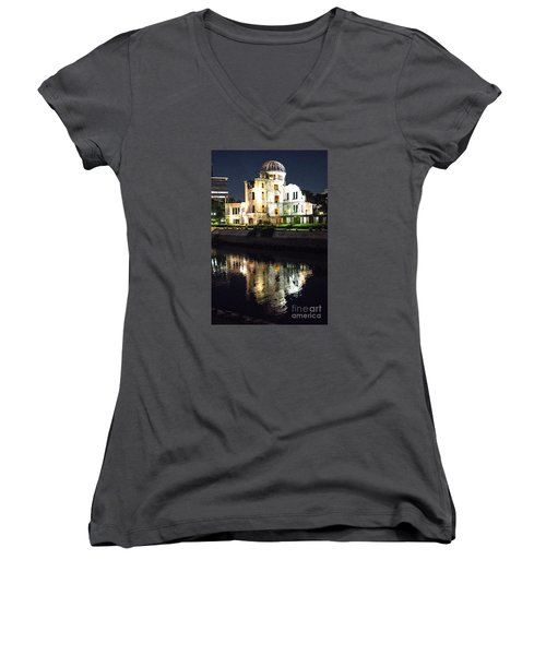 Women's V-Neck T-Shirt (Junior Cut) featuring the photograph Atomic Dome - Symbol Of Destruction And Hope by Pravine Chester