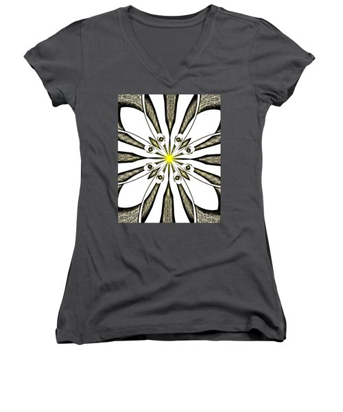 Atomic Lotus No. 3 Women's V-Neck T-Shirt (Junior Cut) by Bob Wall