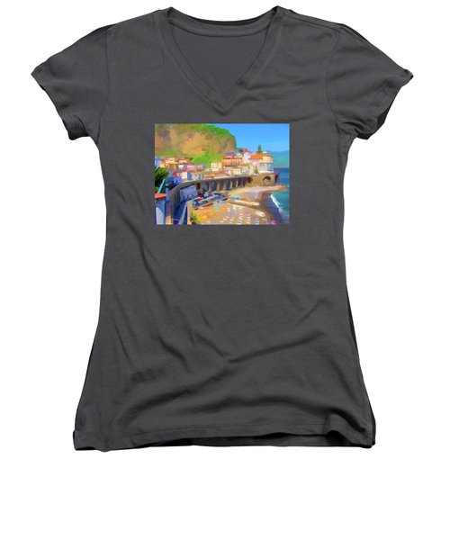 Atrani Italy 01 Women's V-Neck T-Shirt (Junior Cut) by Wally Hampton