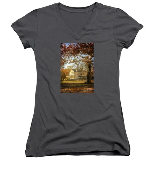Atsion Mansion Women's V-Neck T-Shirt (Junior Cut) by Debra Fedchin