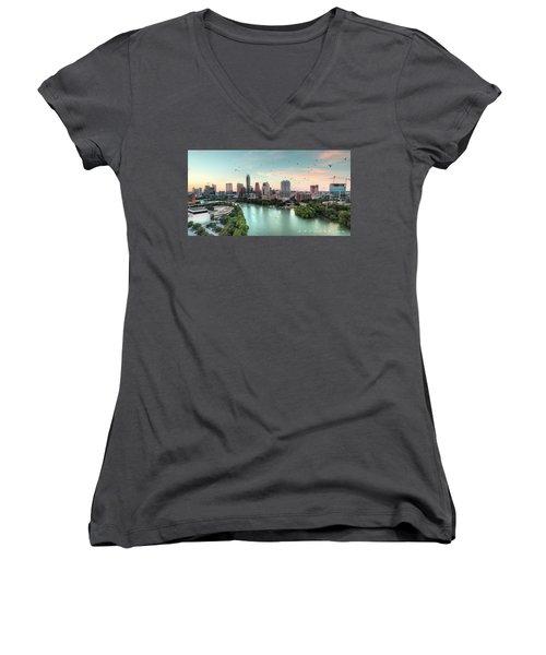 Atx Bats Women's V-Neck T-Shirt (Junior Cut) by Andrew Nourse