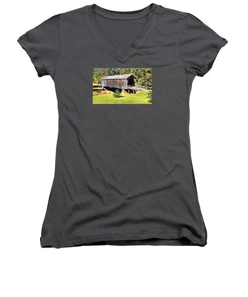 Auchumpkee Creek Covered Bridge Women's V-Neck T-Shirt