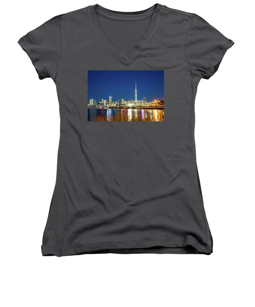 Auckland At Dusk Women's V-Neck