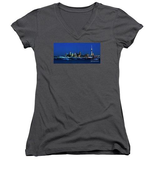 Auckland City Night Lights Women's V-Neck T-Shirt (Junior Cut) by Karen Lewis