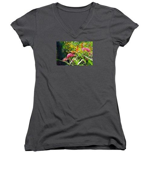 August Monarch Women's V-Neck T-Shirt (Junior Cut) by Janis Nussbaum Senungetuk