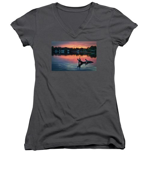 August Sunset Glow Women's V-Neck (Athletic Fit)