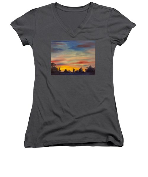 August Sunset In Sw Montana Women's V-Neck (Athletic Fit)