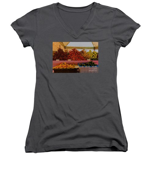 Women's V-Neck T-Shirt (Junior Cut) featuring the photograph August Vegetables by Trey Foerster