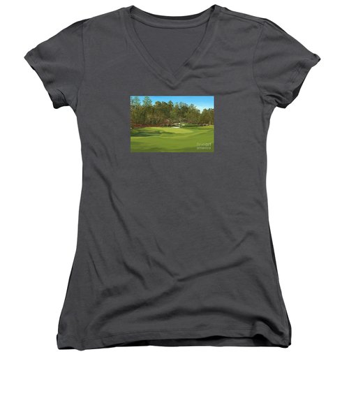 Augusta 11 And12th Hole Women's V-Neck T-Shirt (Junior Cut) by Tim Gilliland