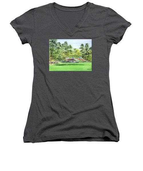 Augusta National Golf Course Women's V-Neck T-Shirt (Junior Cut) by Bill Holkham
