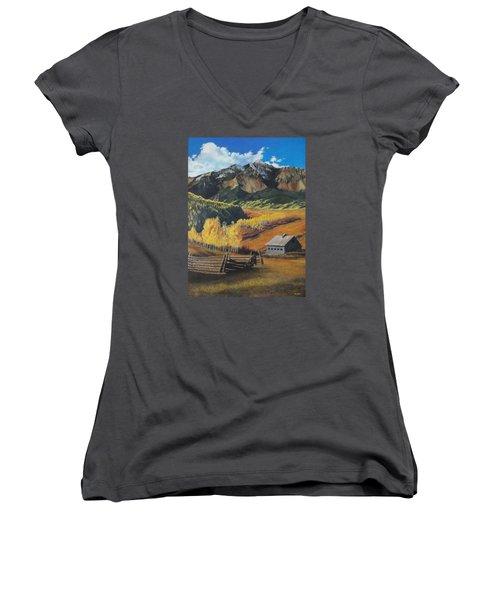 Autumn Nostalgia Wilson Peak Colorado Women's V-Neck T-Shirt (Junior Cut) by Anastasia Savage Ealy