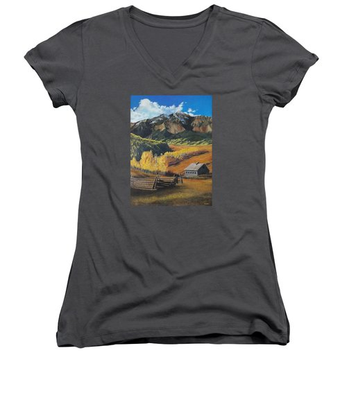 Autumn Nostalgia Wilson Peak Colorado Women's V-Neck (Athletic Fit)