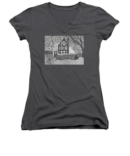 Women's V-Neck T-Shirt (Junior Cut) featuring the drawing Aunt Vizy's House by Lenore Senior