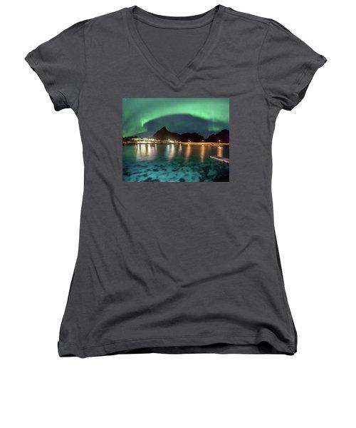 Aurora Above Turquoise Waters Women's V-Neck T-Shirt (Junior Cut) by Alex Conu