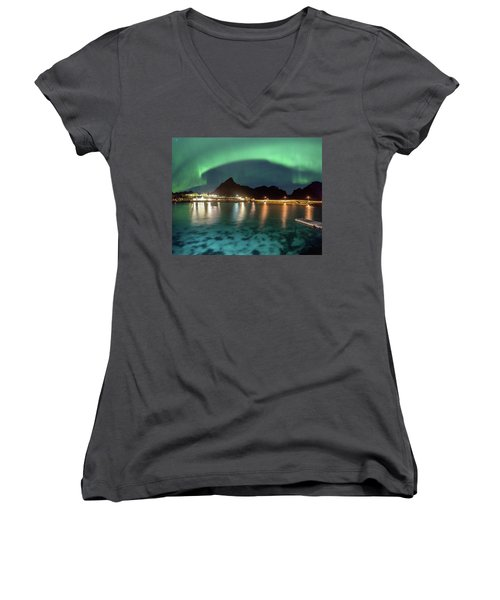 Aurora Above Turquoise Waters Women's V-Neck (Athletic Fit)