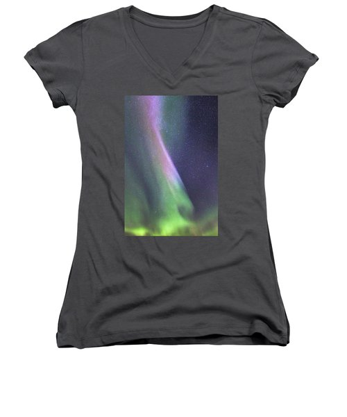 Women's V-Neck T-Shirt (Junior Cut) featuring the photograph Aurora Abstract by Hitendra SINKAR