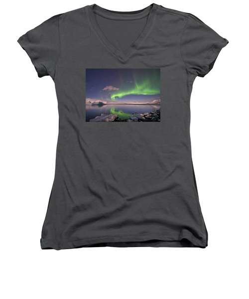 Women's V-Neck T-Shirt (Junior Cut) featuring the photograph Aurora Borealis And Reflection #2 by Wanda Krack