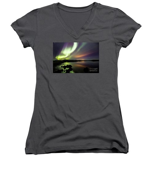 Aurora Borealis Over Thinvellir Women's V-Neck T-Shirt (Junior Cut) by Gunnar Orn Arnason