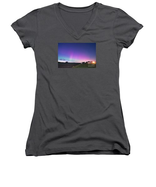 Aurora Energized Pepper Fields Women's V-Neck T-Shirt (Junior Cut) by Patrick Fennell