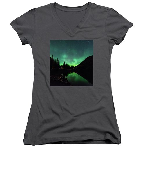 Aurora On Moraine Lake Women's V-Neck T-Shirt