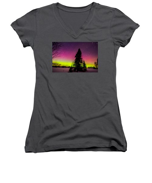 Aurora With Spruce Tree Women's V-Neck T-Shirt