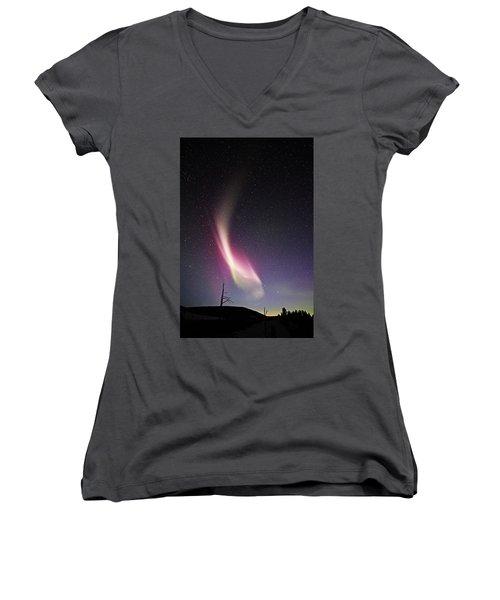 auroral Phenomonen known as Steve 3 Women's V-Neck