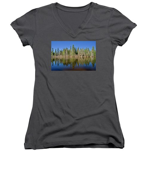 Ausable Reflections 1768 Women's V-Neck T-Shirt (Junior Cut) by Michael Peychich
