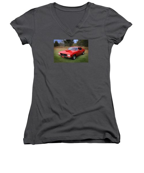 Women's V-Neck T-Shirt (Junior Cut) featuring the photograph Aussie Muscle by Keith Hawley