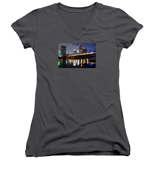 Austin From Below Women's V-Neck T-Shirt (Junior Cut) by Frozen in Time Fine Art Photography