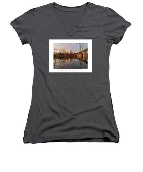 Austin Hike And Bike Trail - Train Trestle 1 Sunset Left Greeting Card Poster - Over Lady Bird Lake Women's V-Neck T-Shirt