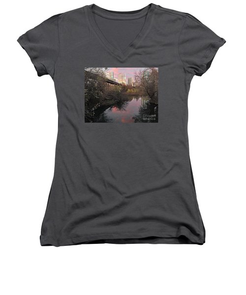 Austin Hike And Bike Trail - Train Trestle 1 Sunset Triptych Right Women's V-Neck (Athletic Fit)