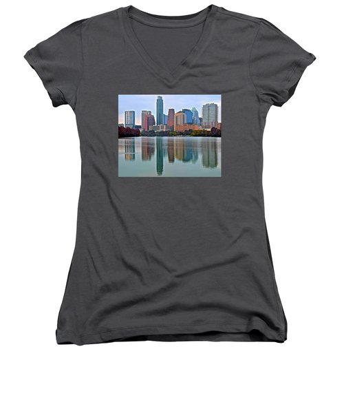 Austin Shimmer  Women's V-Neck T-Shirt (Junior Cut) by Frozen in Time Fine Art Photography