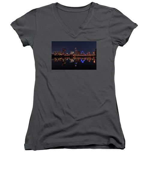 Austin Skyline At Night Women's V-Neck T-Shirt (Junior Cut) by Todd Aaron