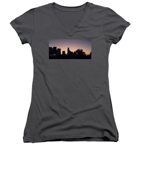 Austin Skyline Sunrise Into A Crescent Moon Panorma Women's V-Neck T-Shirt