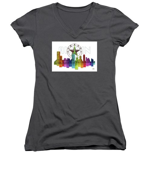 Austin Texas Skyline Women's V-Neck (Athletic Fit)