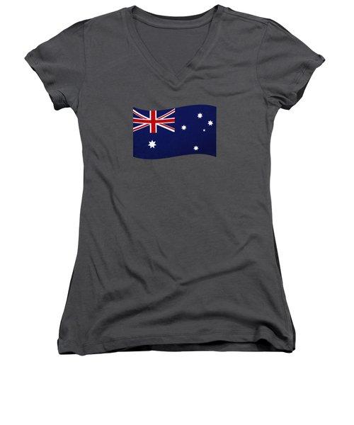Australian Flag Waving Png By Kaye Menner Women's V-Neck T-Shirt (Junior Cut) by Kaye Menner