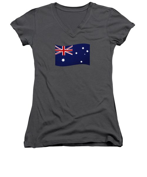 Australian Flag Waving Png By Kaye Menner Women's V-Neck (Athletic Fit)