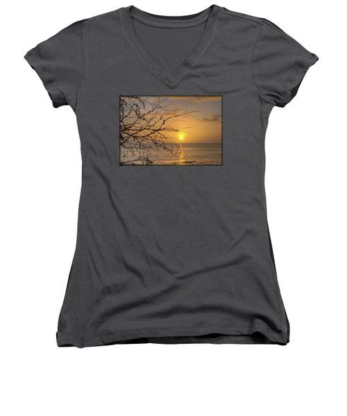 Women's V-Neck T-Shirt (Junior Cut) featuring the photograph Australian Sunrise by Geraldine Alexander