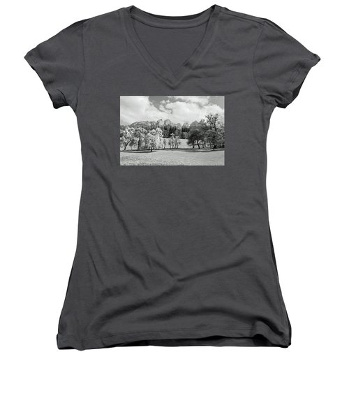 Women's V-Neck T-Shirt (Junior Cut) featuring the photograph Austrian Landscape by Brooke T Ryan