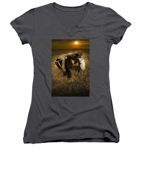 Auto Wreck In A Grassy Field On The Prairie At Sunset Women's V-Neck (Athletic Fit)