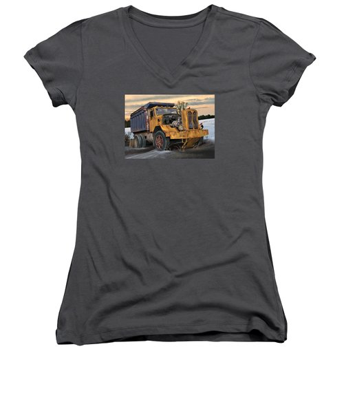 Women's V-Neck T-Shirt (Junior Cut) featuring the digital art Autocar Dumptruck by Stuart Swartz