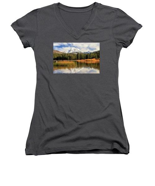 Autumn At Mount Lassen Women's V-Neck T-Shirt (Junior Cut) by James Eddy