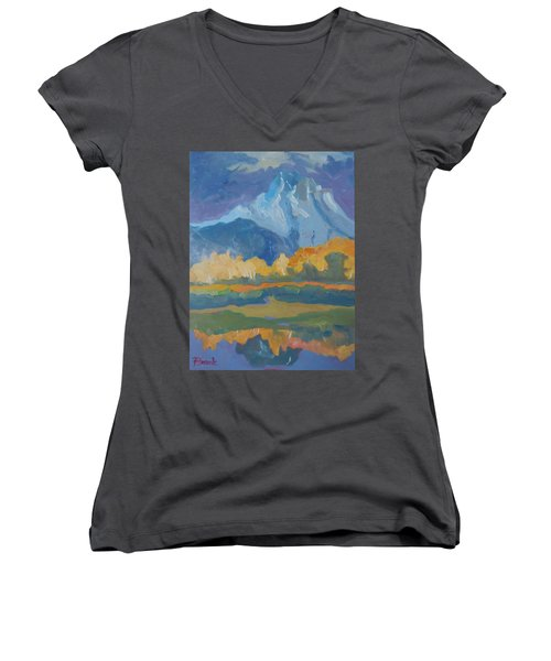 Women's V-Neck T-Shirt (Junior Cut) featuring the painting Autumn At Mt. Moran by Francine Frank