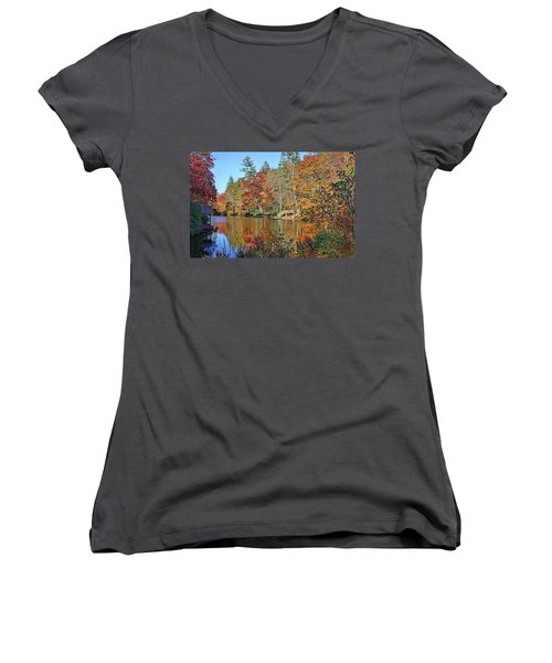 Autumn At The Lake 2 Women's V-Neck (Athletic Fit)