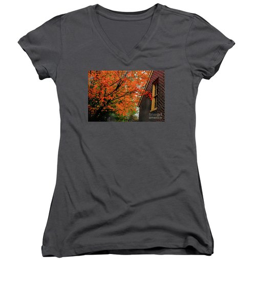 Autumn At The Window Women's V-Neck (Athletic Fit)