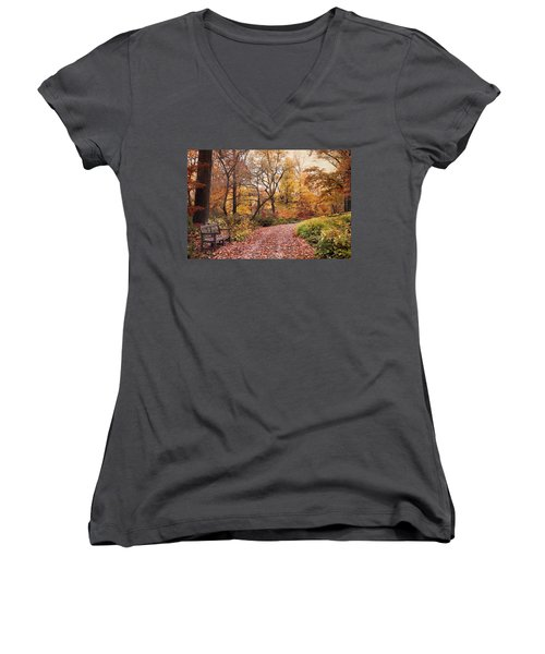 Autumn Azalea Garden Women's V-Neck