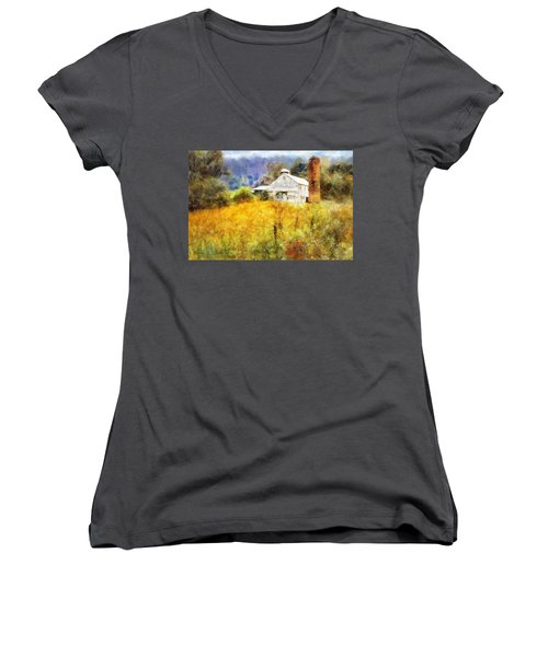 Women's V-Neck T-Shirt (Junior Cut) featuring the digital art Autumn Barn In The Morning by Francesa Miller